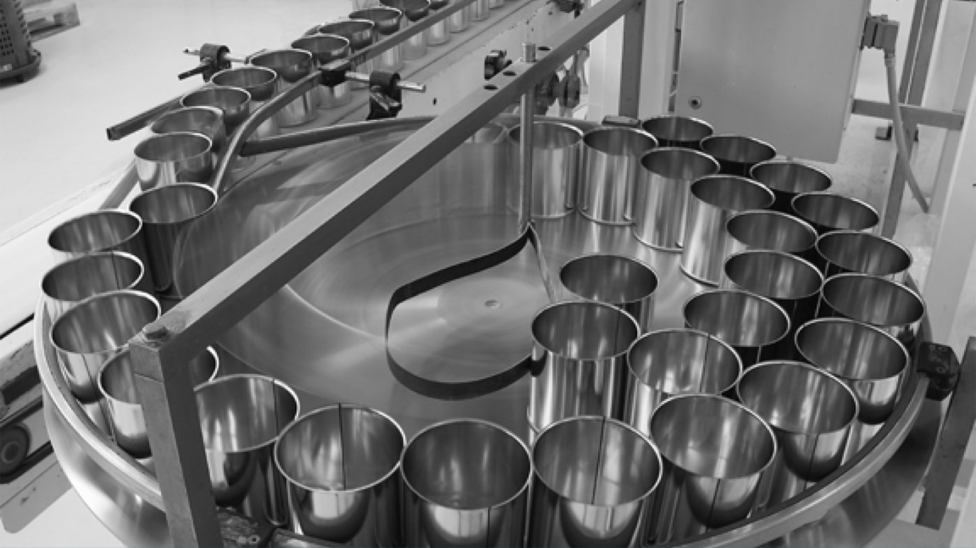 Cans on production line