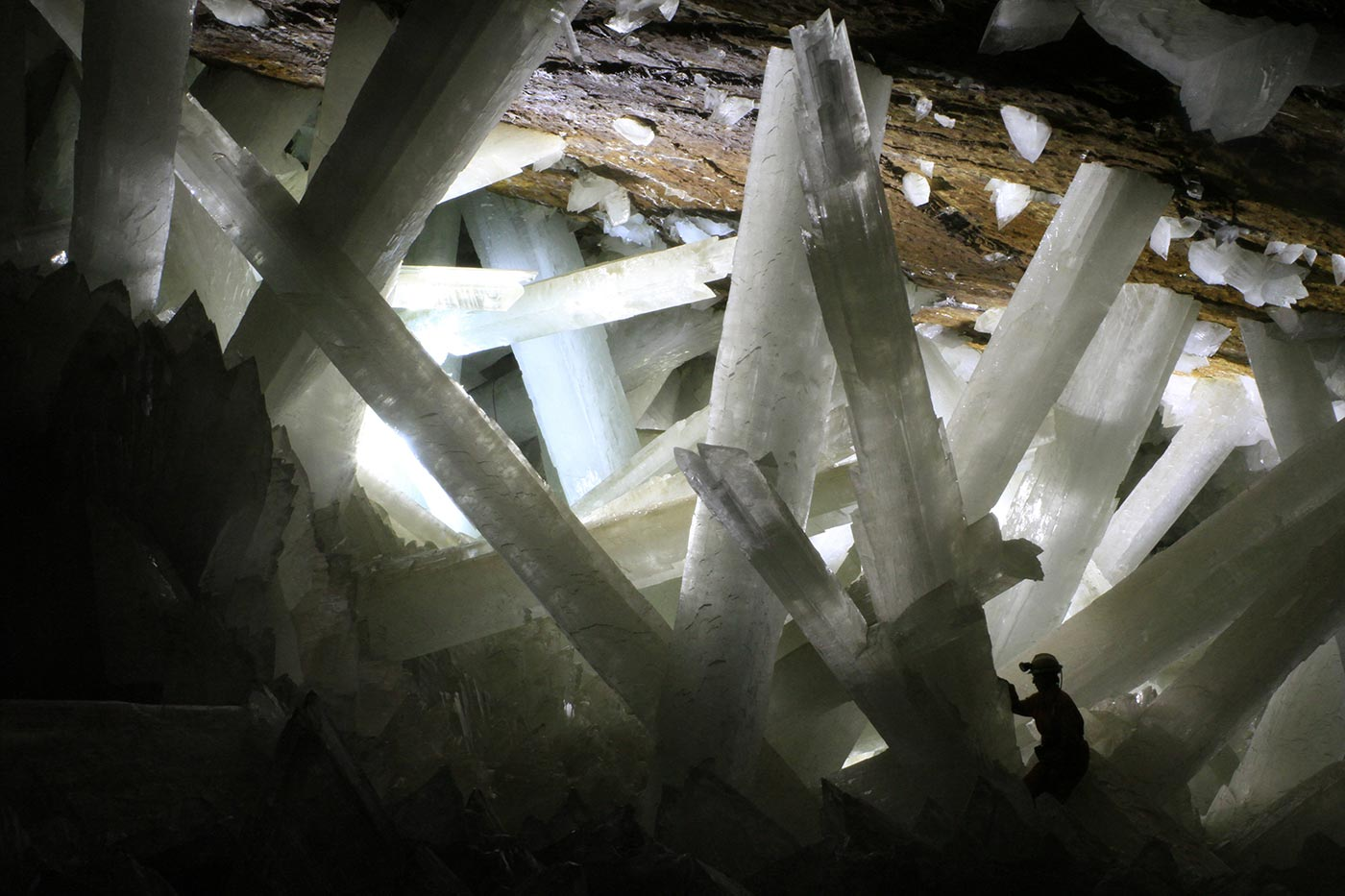 Gypsum crystals of the Naica cave (note the person for scale).