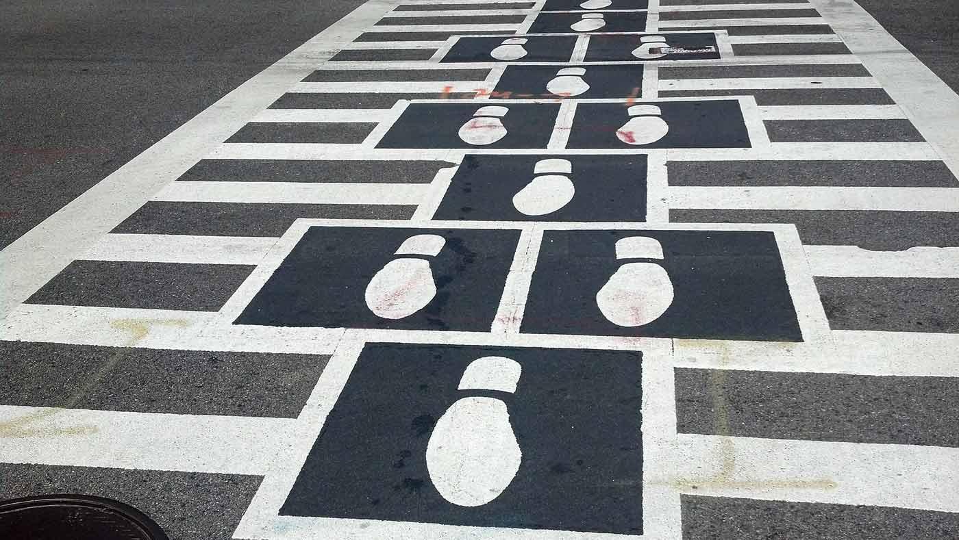 Crosswalk footprints.