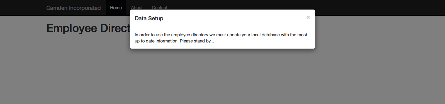 A message is displayed while the application is setting up
