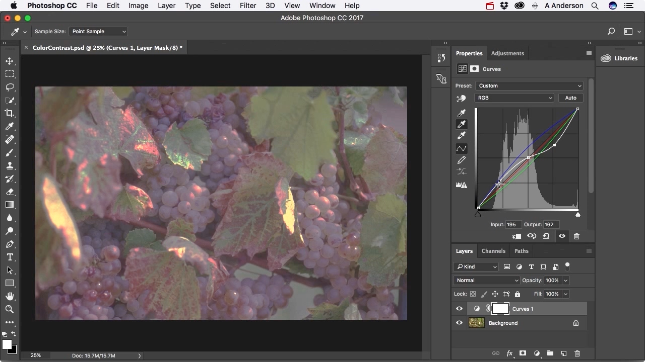 """Screenshot from """"How do I use curves to balance color and adjust contrast in Photoshop?"""""""