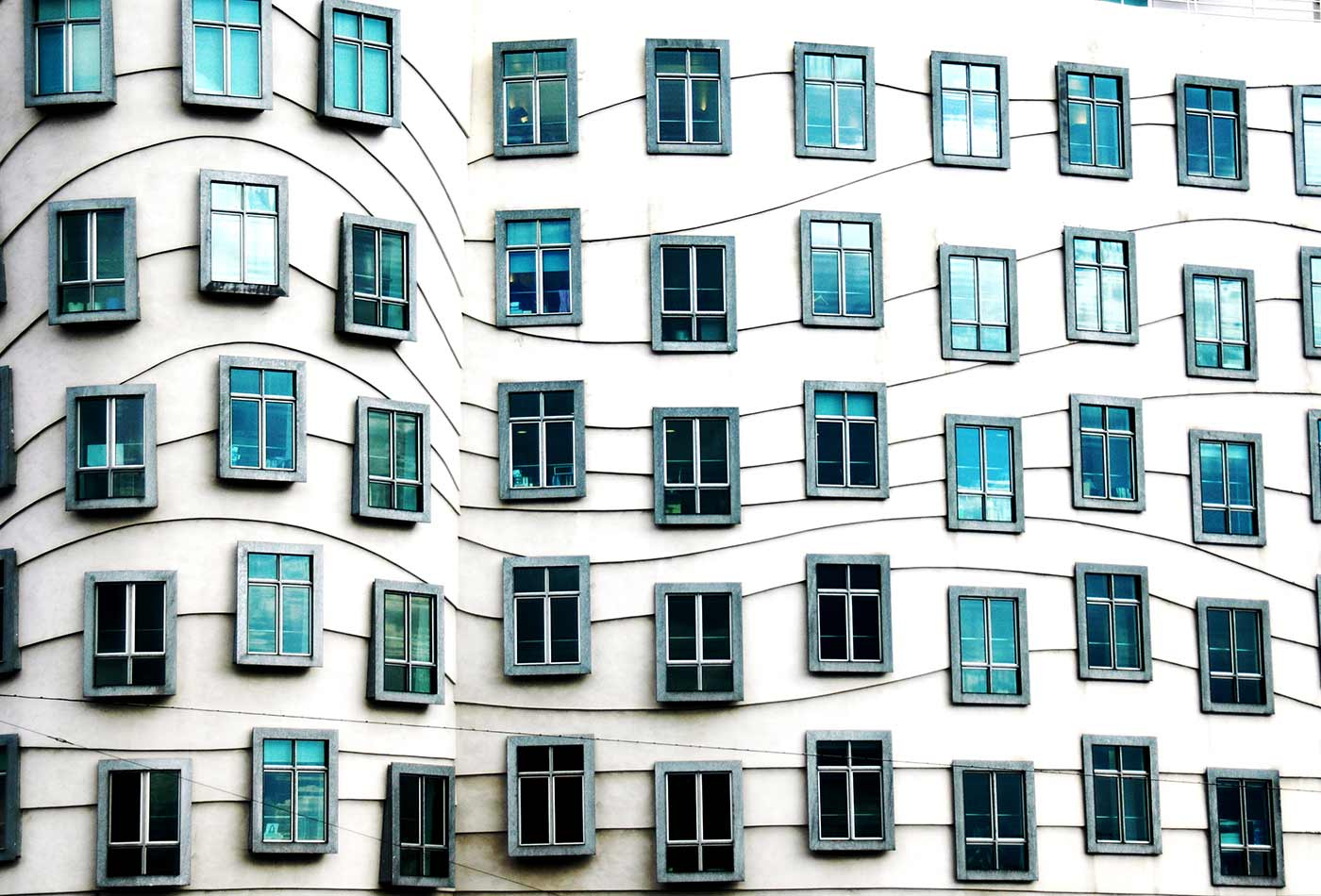 Frank Gehry's Dancing House windows.