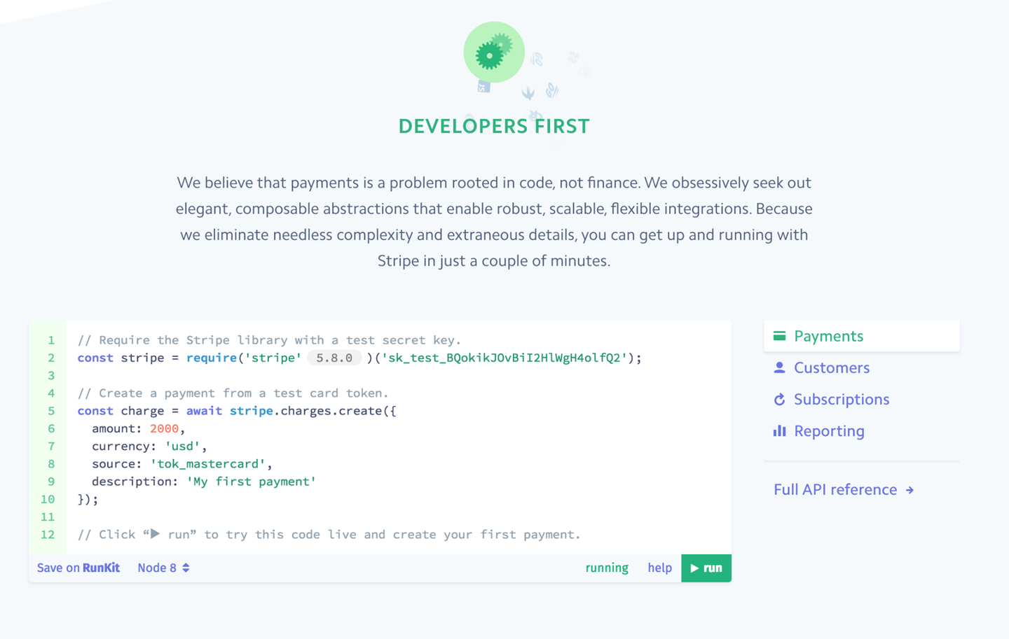 Developers can try the Stripe API without signing-up