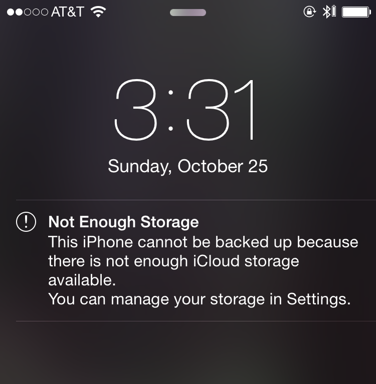 For users that don't understand iCloud, this alert could cause digital anxiety