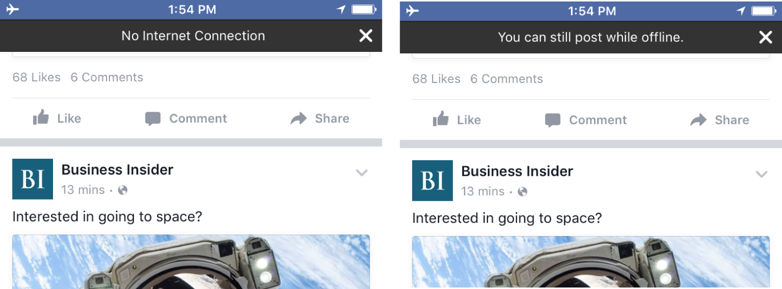 Facebook app clearly messages offline capabilities