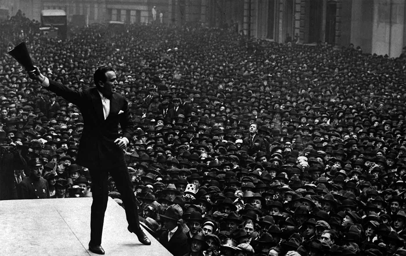 Douglas Fairbanks speaking in New York City.