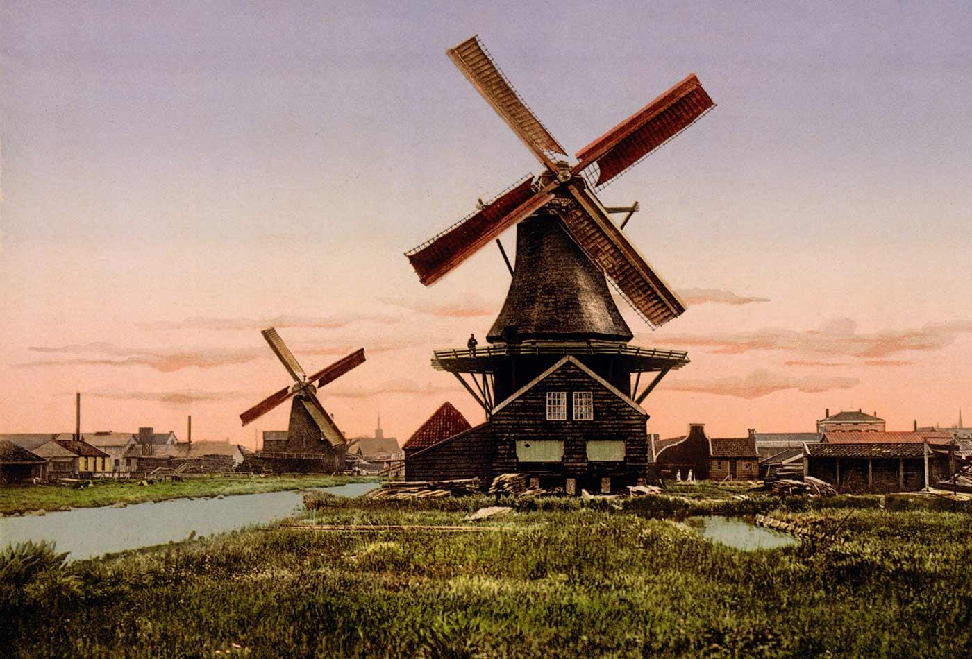 Dutch windmills, Holland, circa 1905.