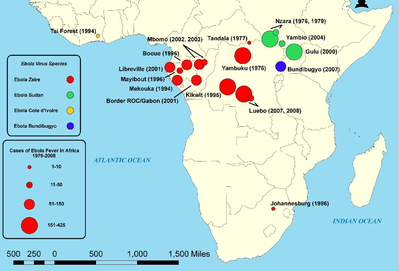 Map of outbreaks of the Ebola virus in Africa by strain and confirmed contractions.