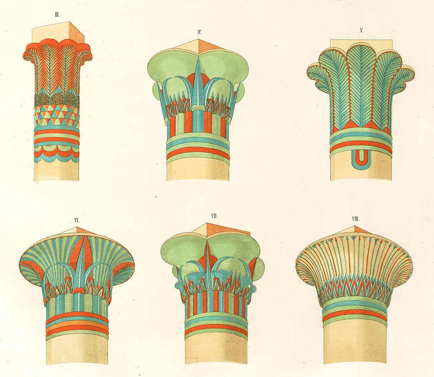 Drawings of architectural capitals from ancient Egypt.