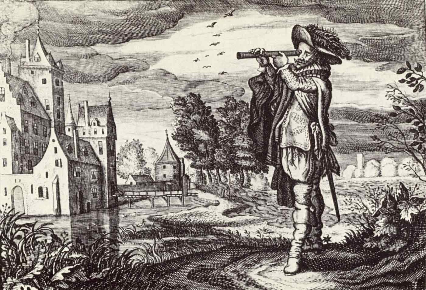 Early depiction of a 'Dutch telescope,' by Adriaen van de Venne, 1624.