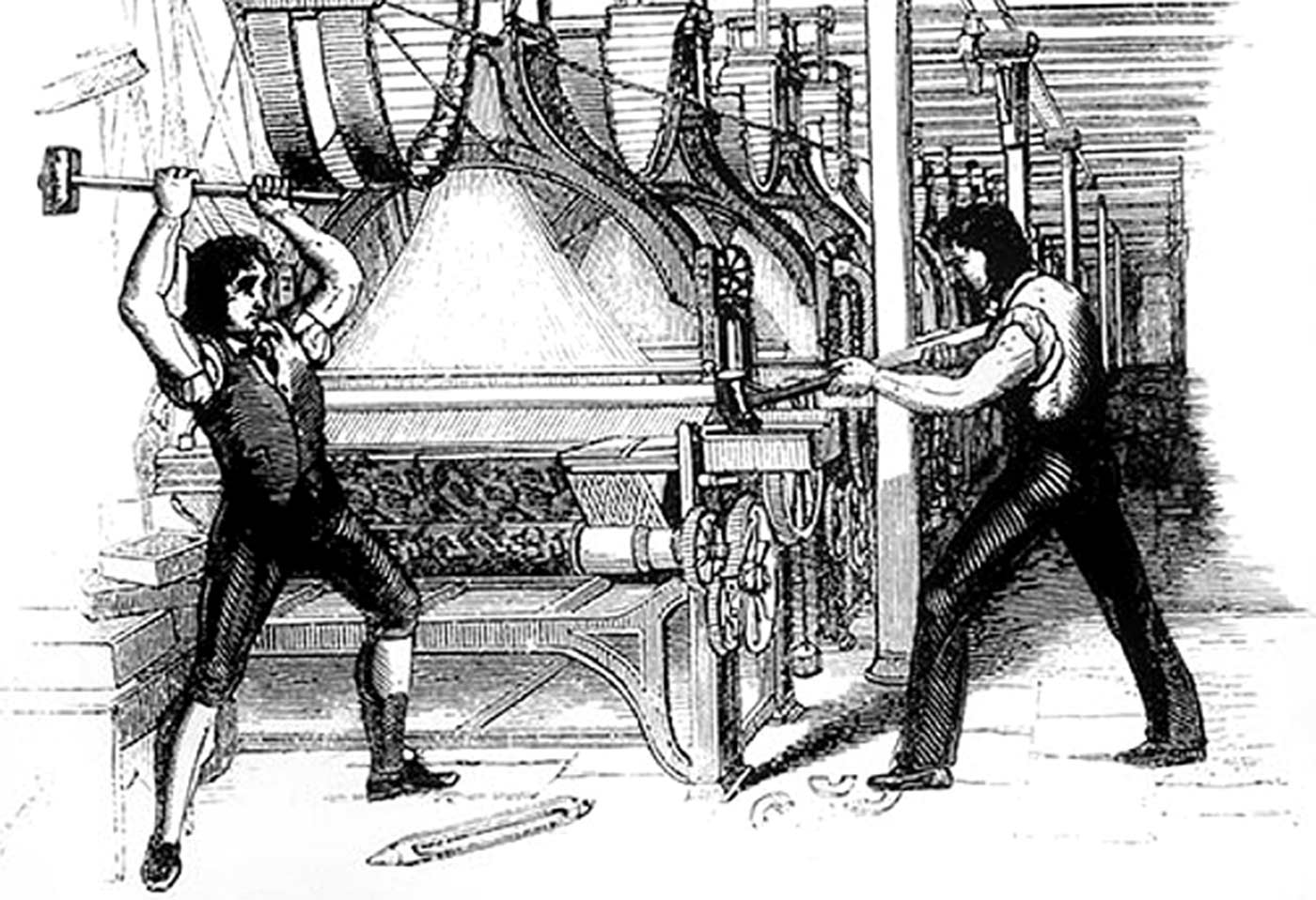 Frame-breakers, or Luddites, smashing a loom, 1812.