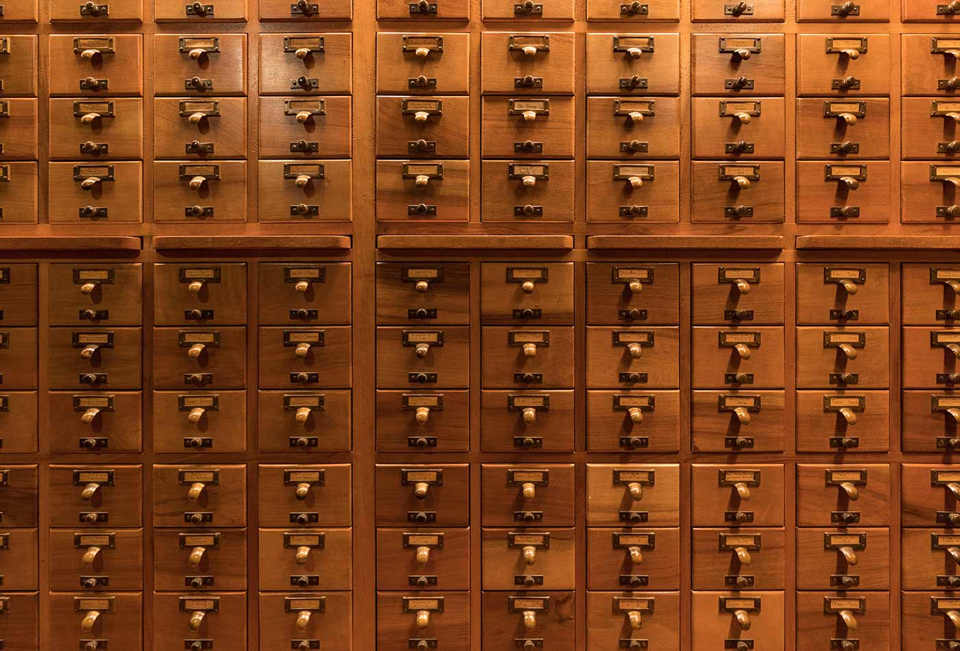 Reference library card catalog.