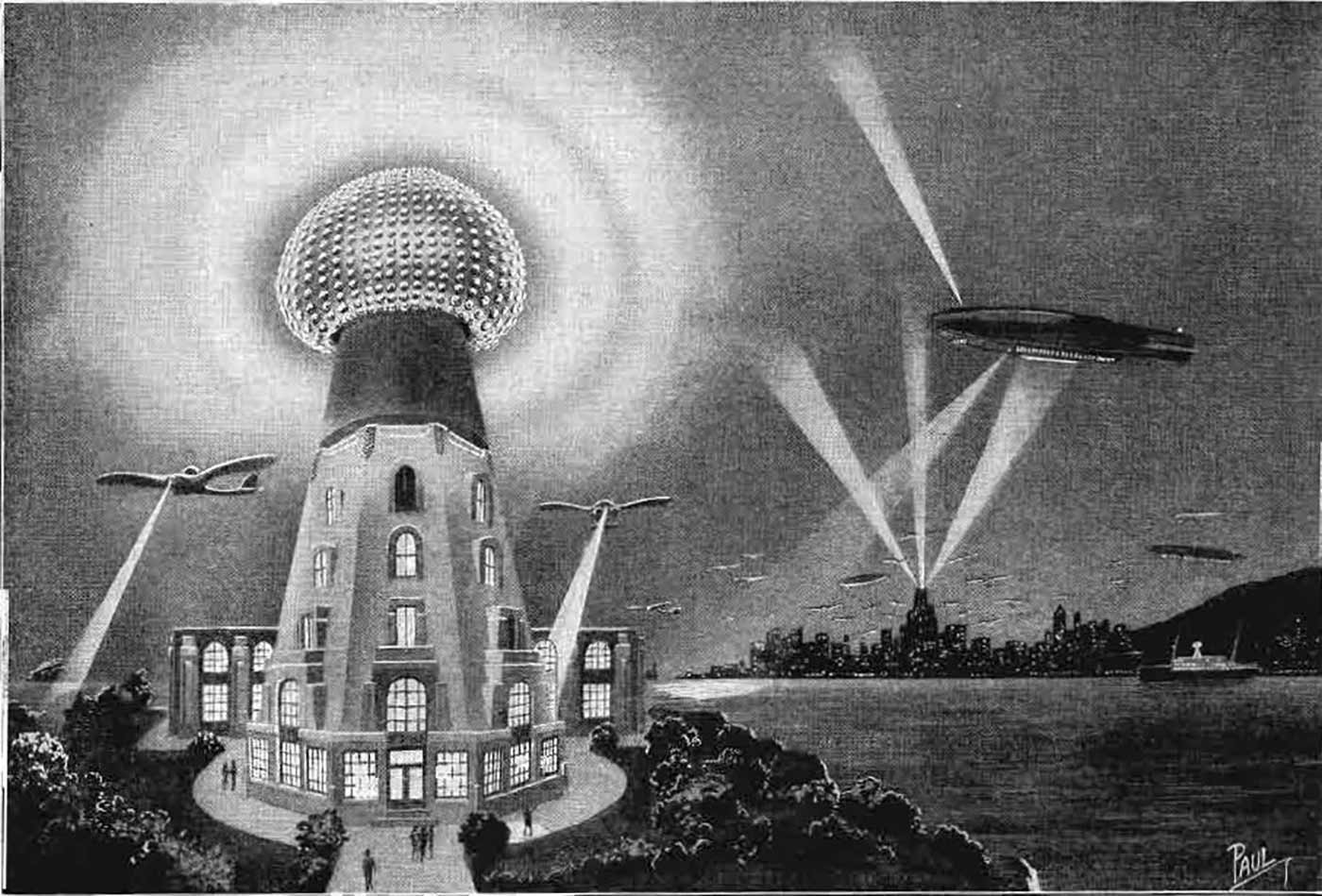 Frank R. Paul's 1925 conception of what Nikola Tesla's wireless power transmission system might look like in the future.