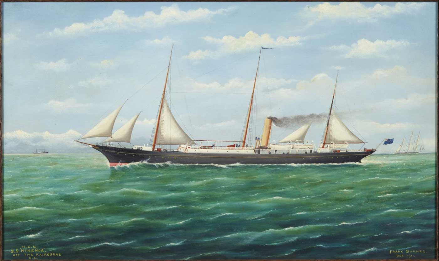 "New Zealand government service steamer ""Hinemoa,"" Frank Barnes 1911"