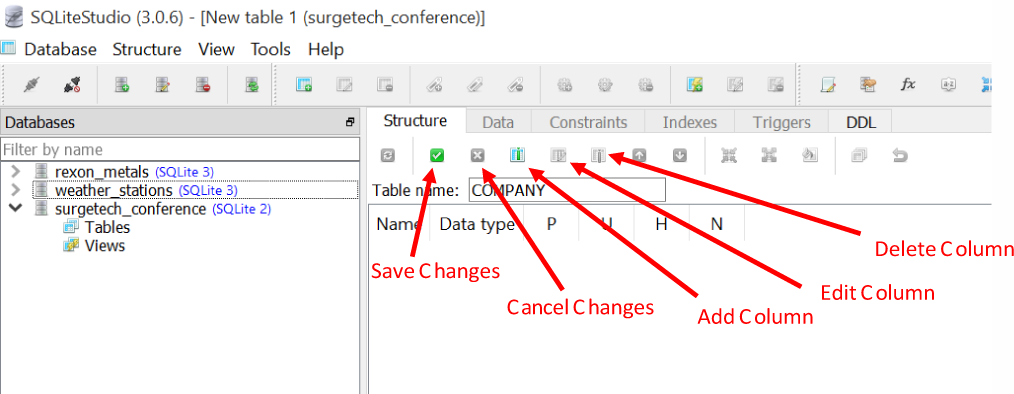 """The table """"Structure"""" tab, which we can use to add, modify, and remove columns from a table"""