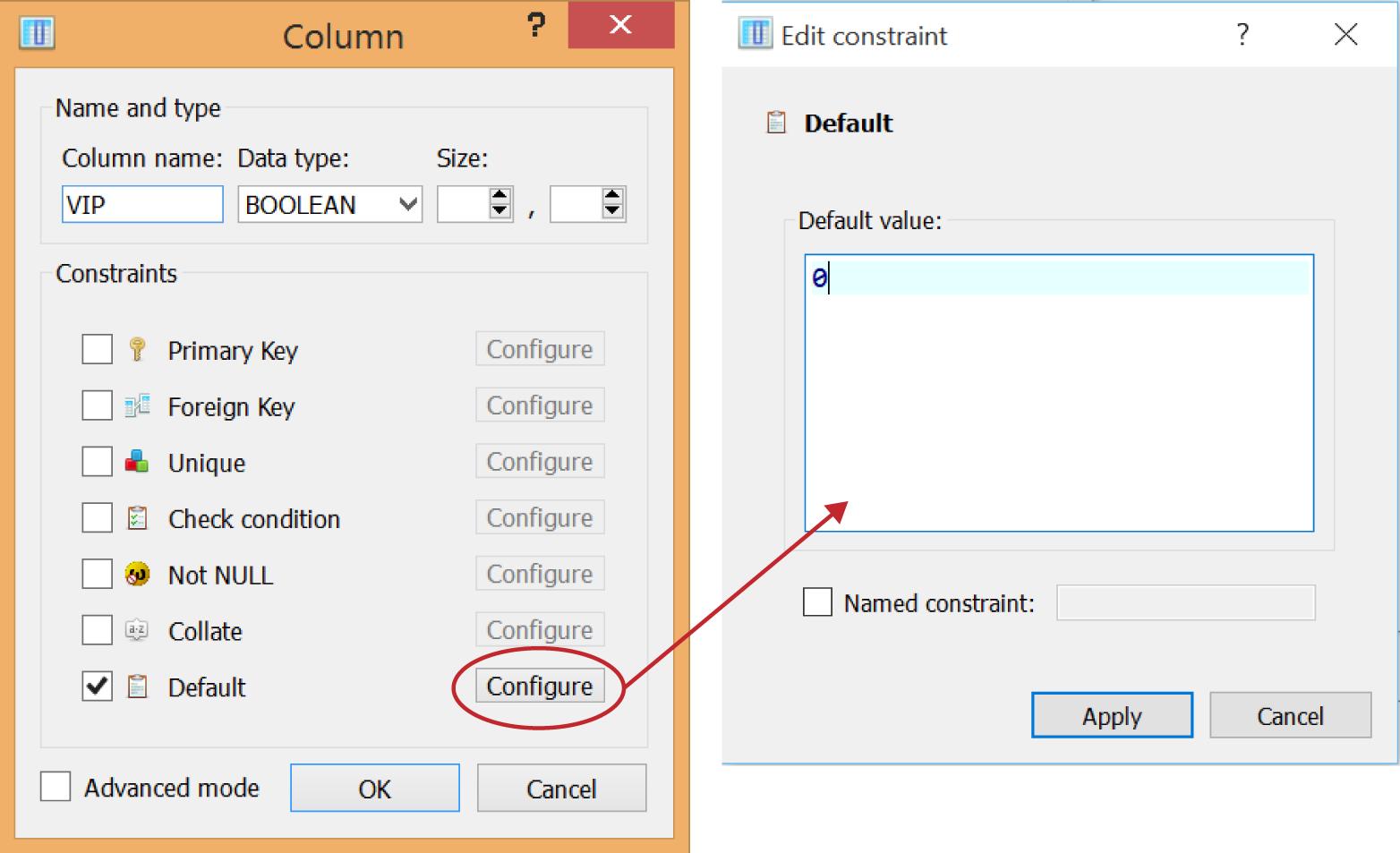 Setting a default value for a column