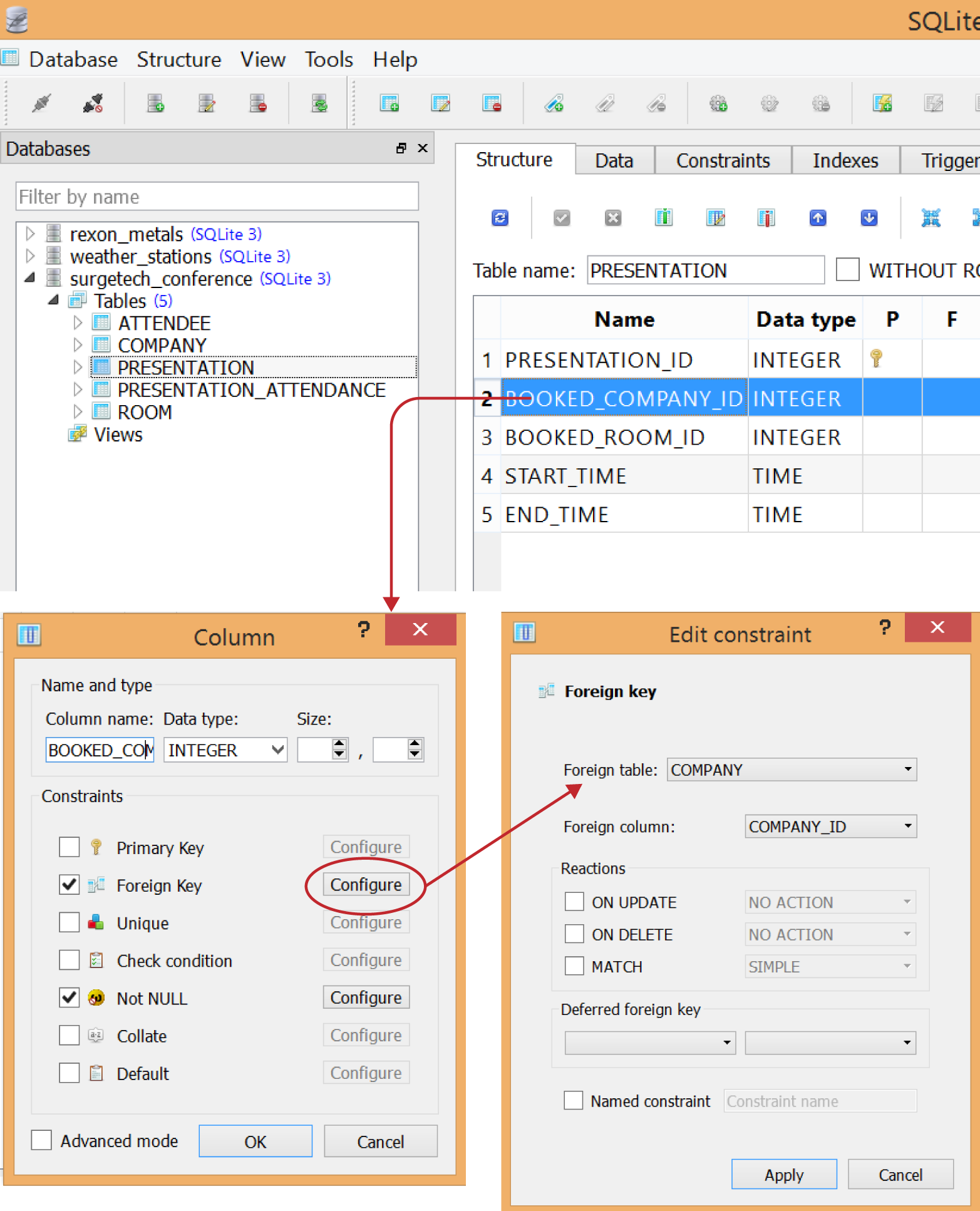 Making BOOKED_COMPANY_ID a foreign key to COMPANY_ID on the COMPANY table