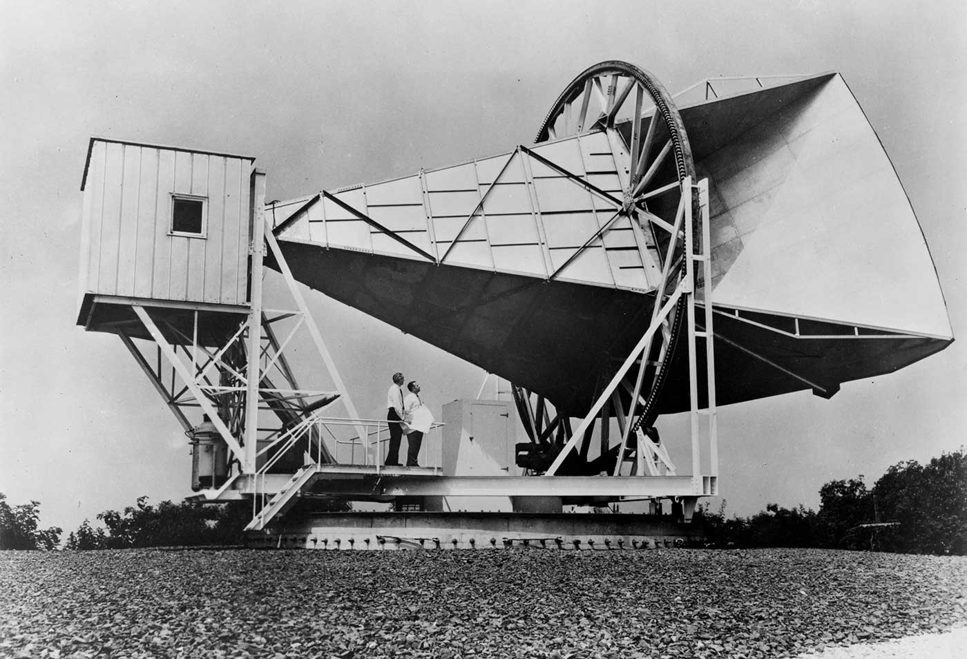 The 15-meter Holmdel horn antenna at Bell Telephone Laboratories in Holmdel, New Jersey, was built in 1959 for pioneering work in communication satellites for the NASA ECHO I.