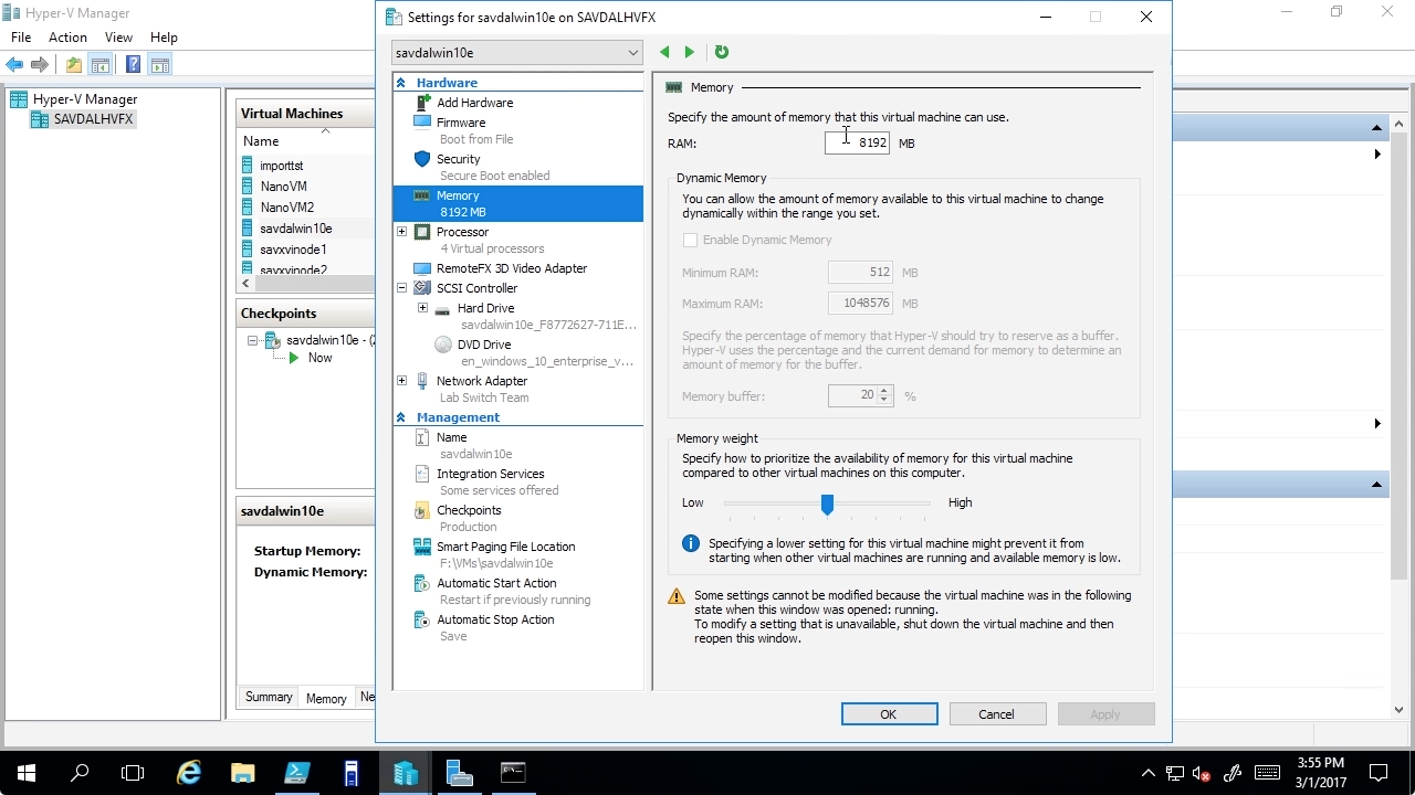 """Screen from """"How do I use hot-add and hot-remove memory in Windows Server 2016 Hyper-V?"""""""
