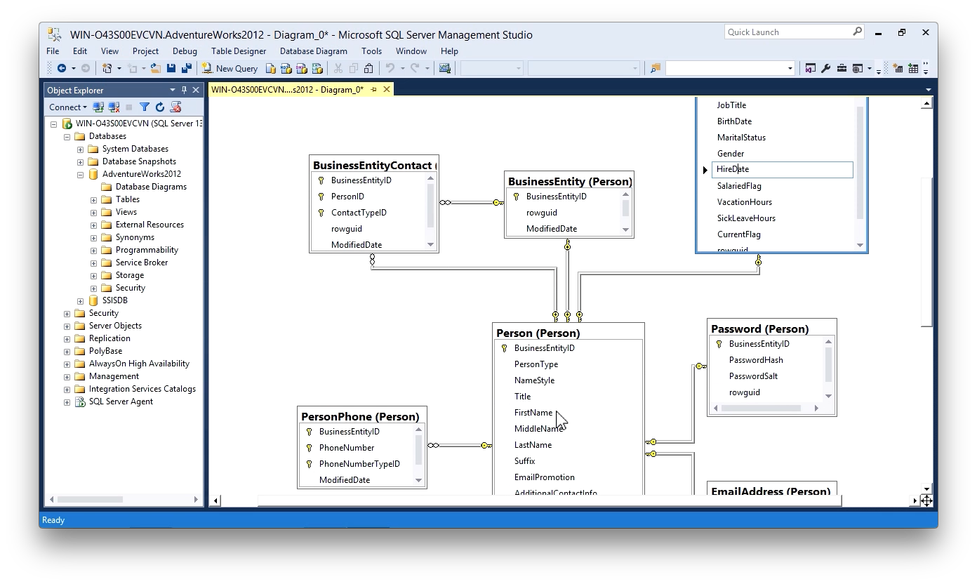 """Screen from """"How do I locate data in my SQL Server tables using SQL Server Management Studio diagrams?"""""""