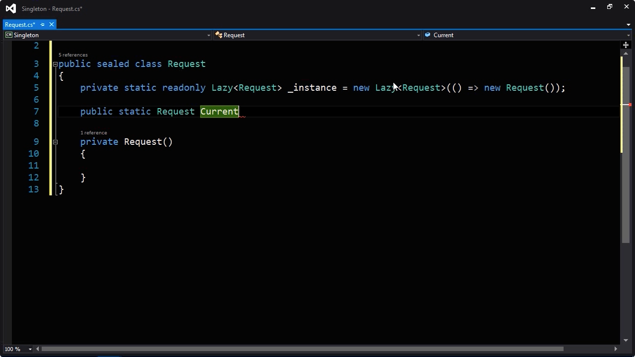 """Screen from """"How do I use the singleton pattern in C#?"""""""