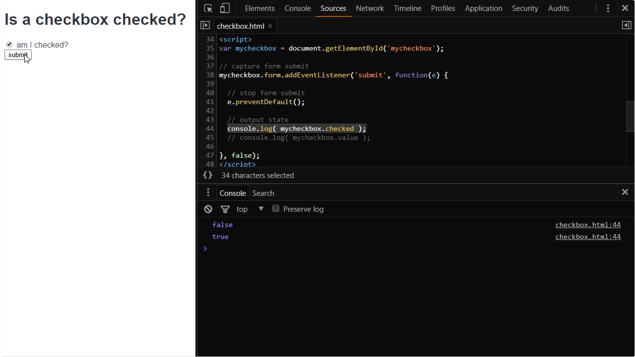 "Screenshot from ""How do you check if an HTML form checkbox field is checked in JavaScript?"""