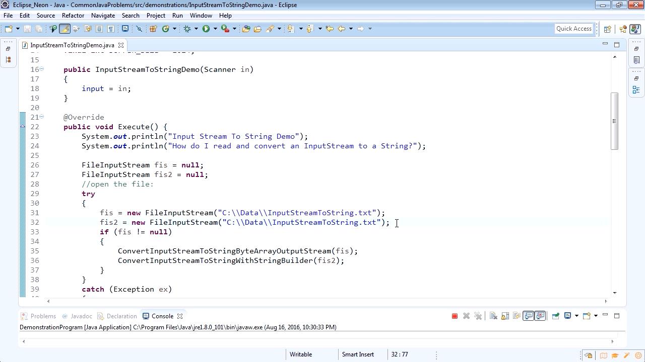 "Screenshot from ""How to convert an InputStream to a string"""