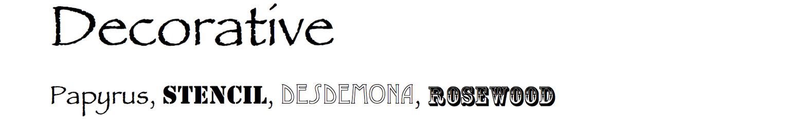 Decorative typefaces