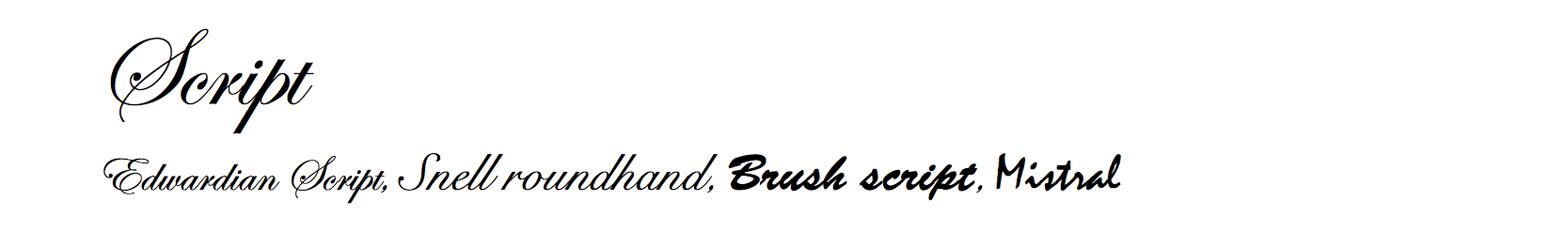 Script typefaces