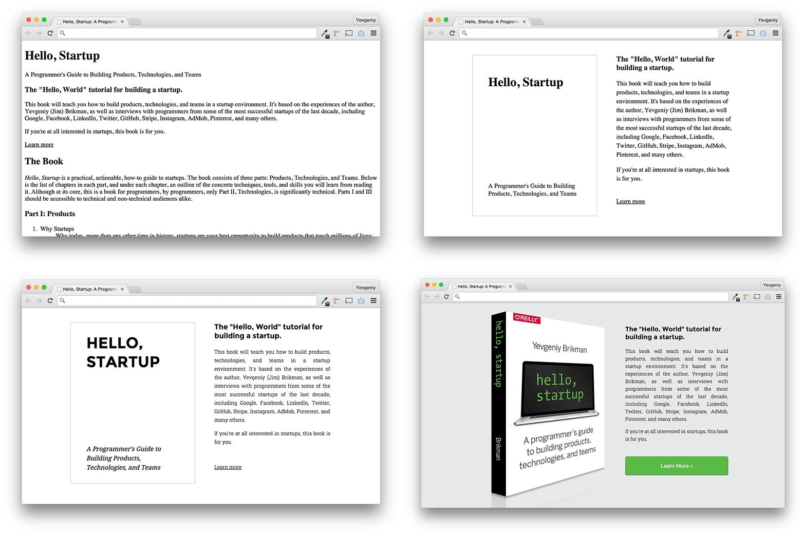 The progression of the hello-startup.net design.