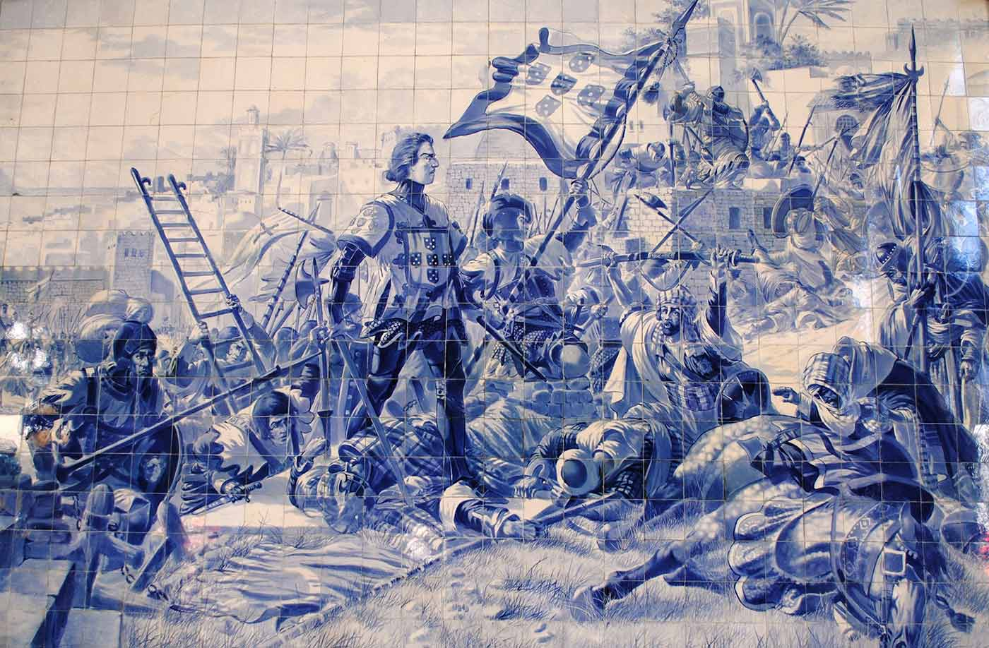 Panel of azulejos by Jorge Colaço (1864-1942) at the São Bento railway station, depicting Prince Henry the Navigator during the conquest of Ceuta.