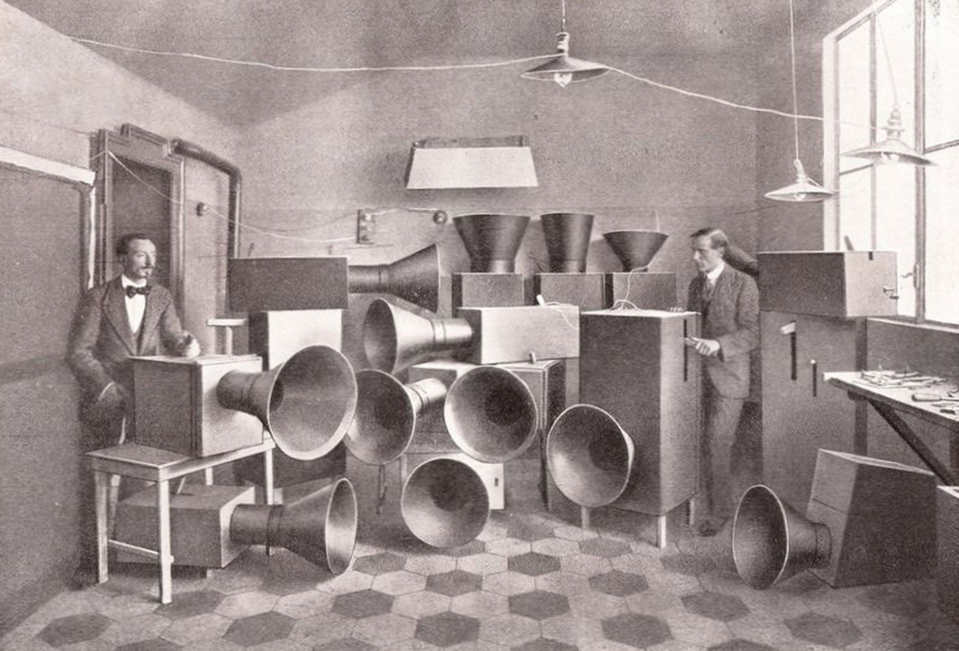 """Instruments for futuristic music, called """"Bruitism,"""" from """"The Art of Noises,"""" by Luigi Russolo, 1913"""