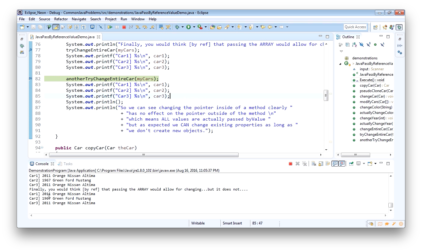 """Screenshot from """"Is Java pass by reference or pass by value?"""""""