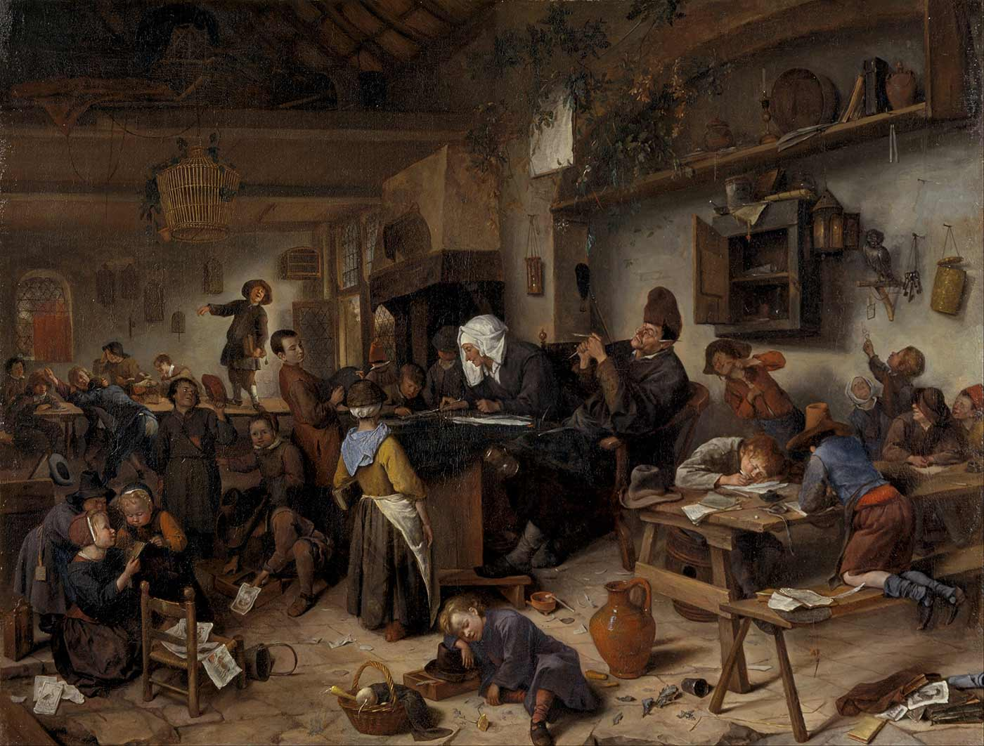 """""""A School for Boys and Girls,"""" 1670."""