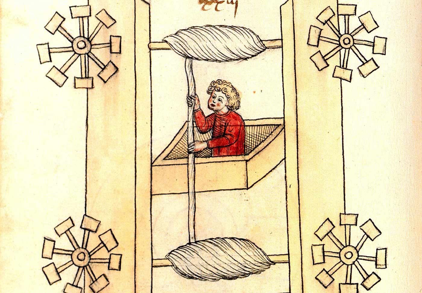 Elevator design by the German engineer Konrad Kyeser (1405).