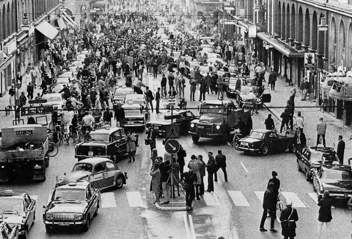 3 September 1967: Road traffic in Sweden switched from driving on the left side of the road to the right.