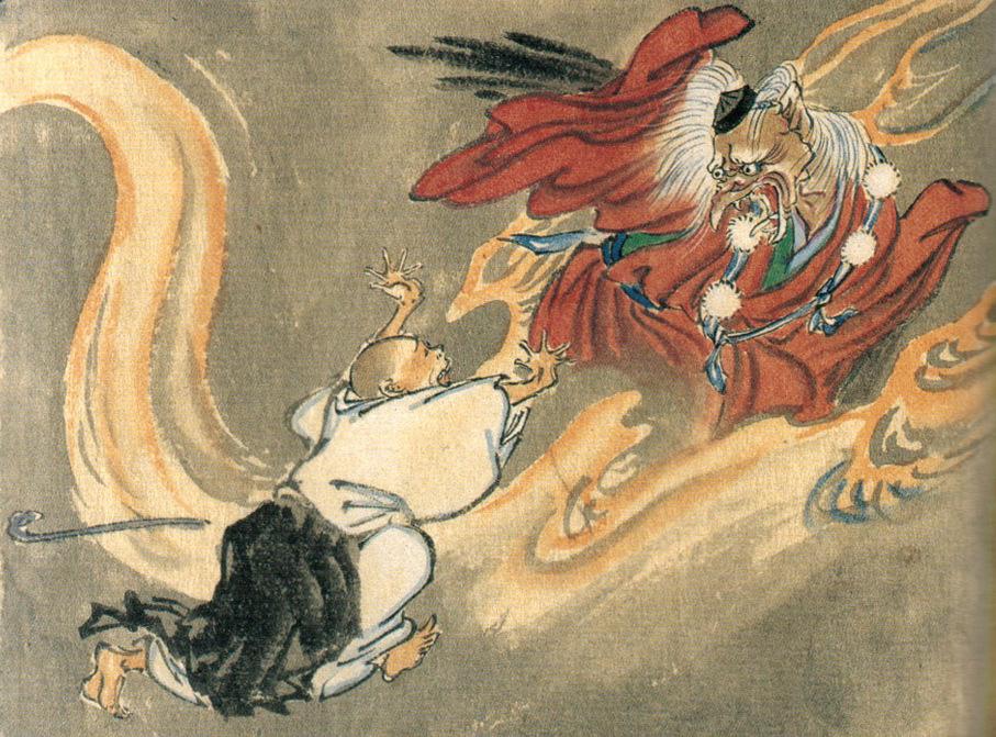 A tengu and a buddhist monk