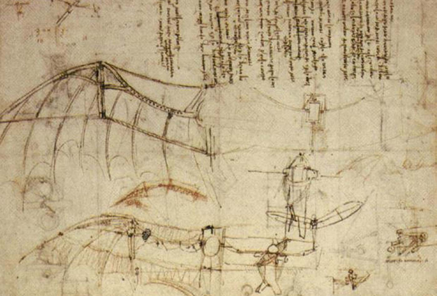 Leonardo da Vinci's design for a flying machine.