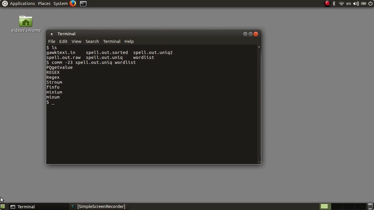 """Screen from """"How can I make the Linux spell command more useful?"""""""