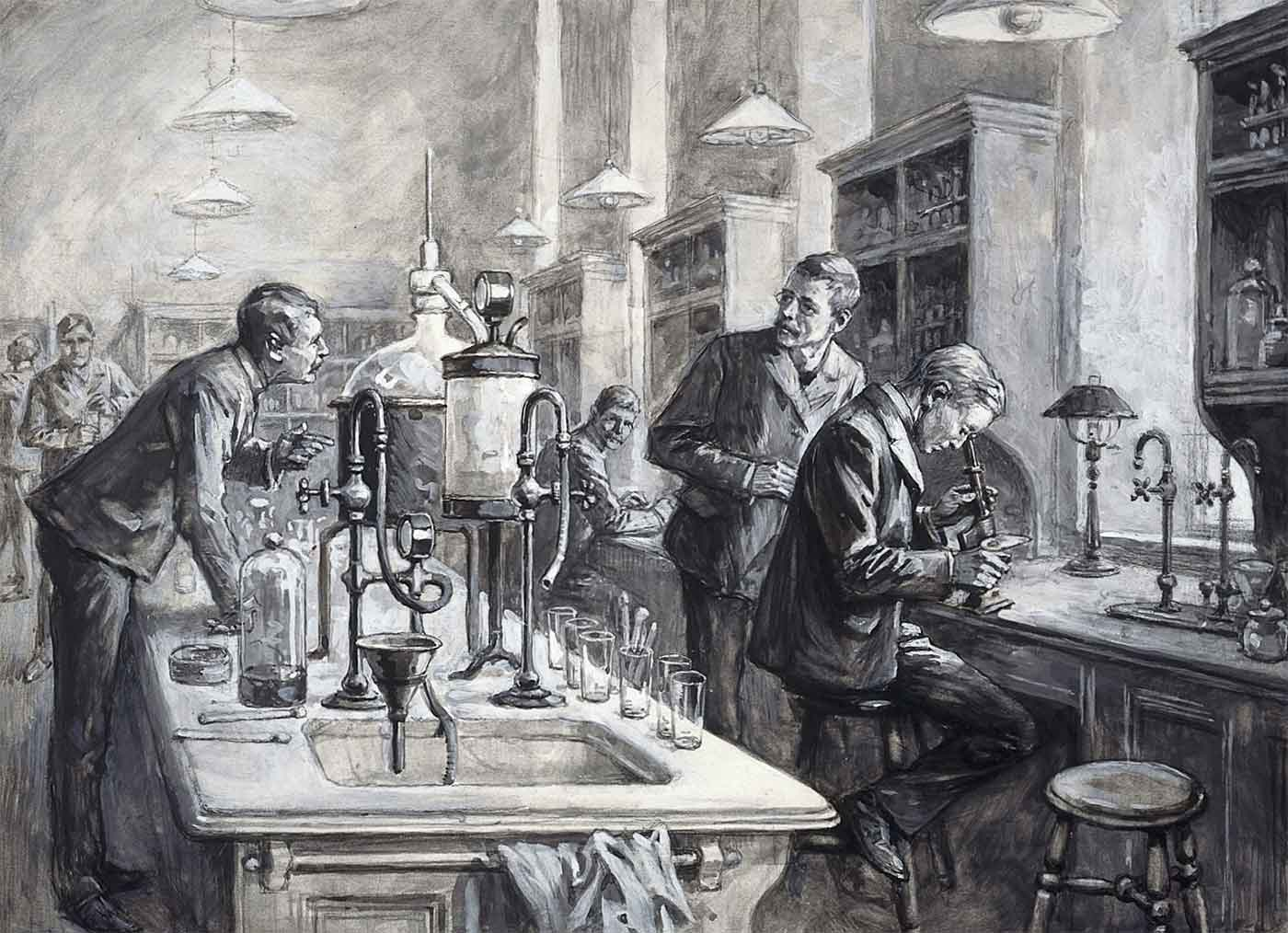 Sir Ronald Ross, C.S. Sherrington, and R.W. Boyce in a laboratory at the Liverpool School of Tropical Medicine. Gouache by W.T. Maud, 1899.