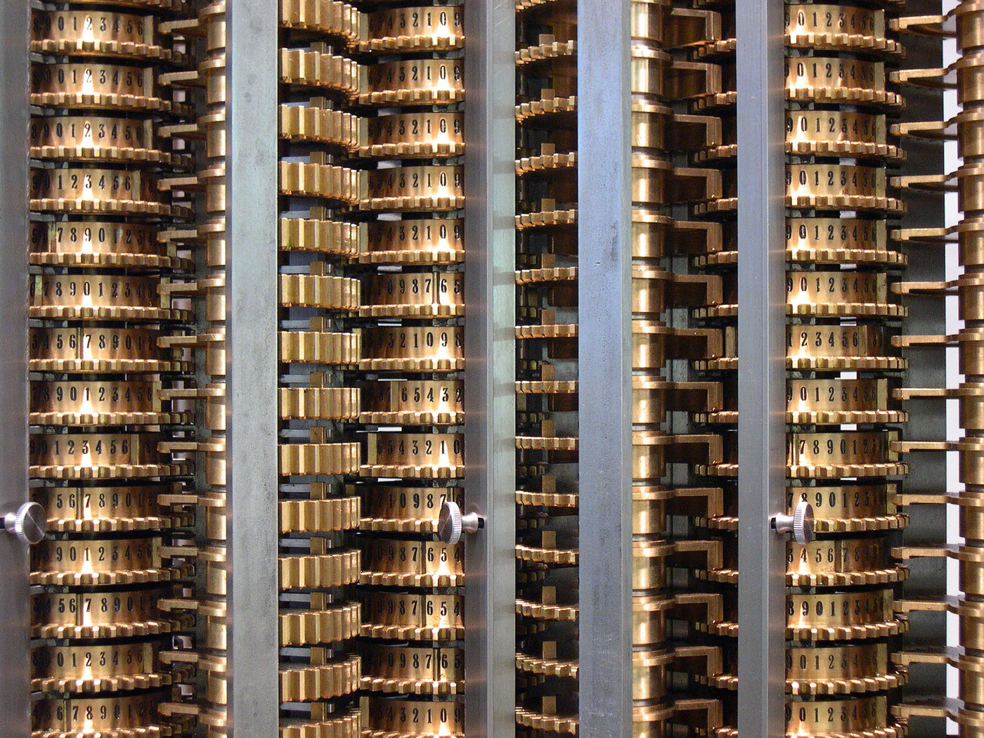 Closeup of the London Science Museum's difference engine