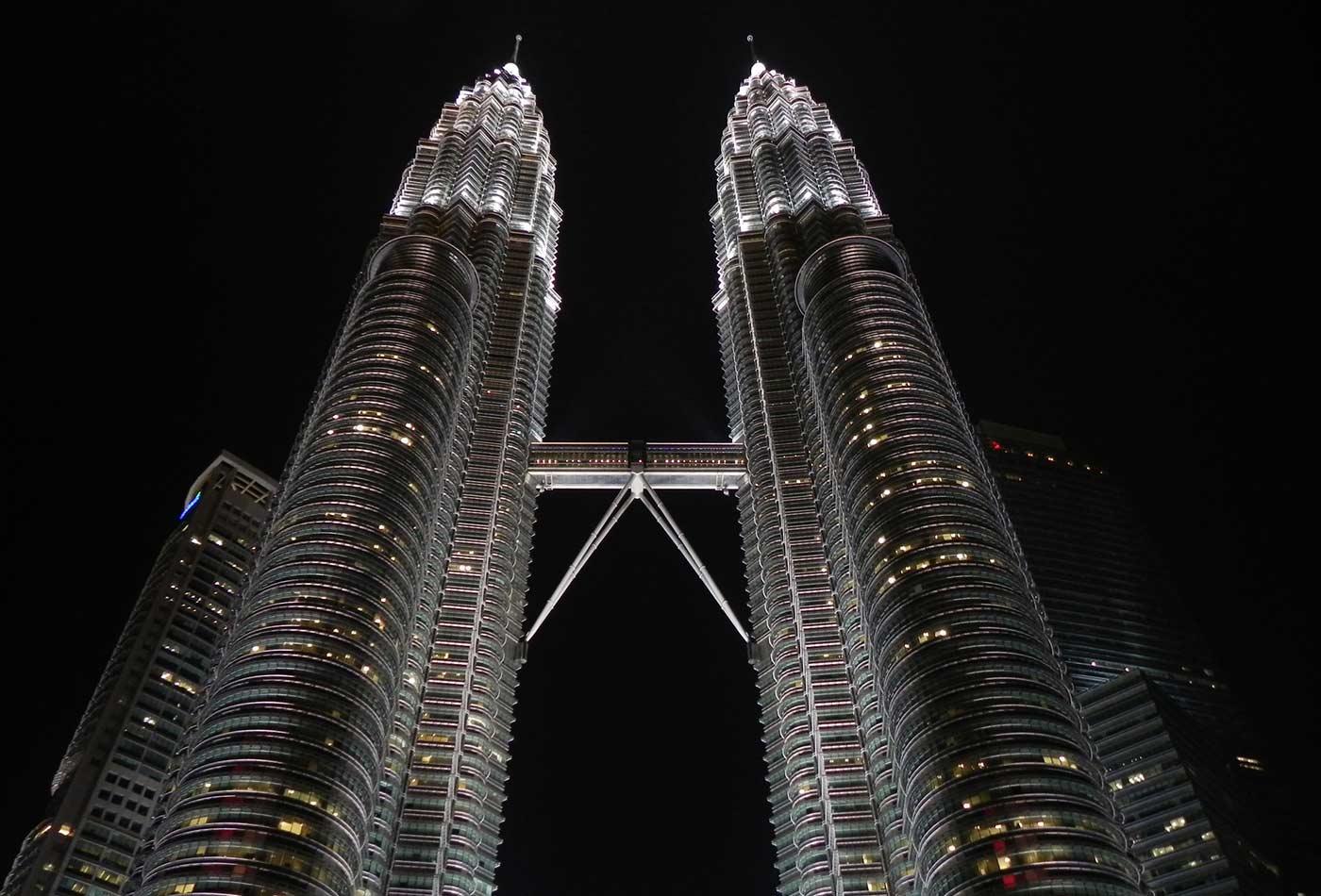 The Petronas Twin Towers in Kuala Lumpur in Malaysia.