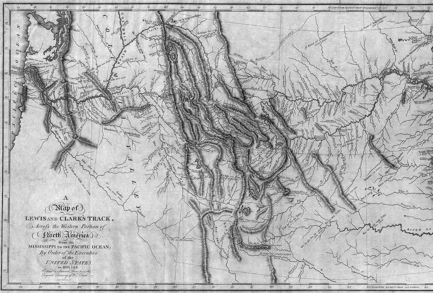 Map of Lewis and Clark's track across the western portion of North America.