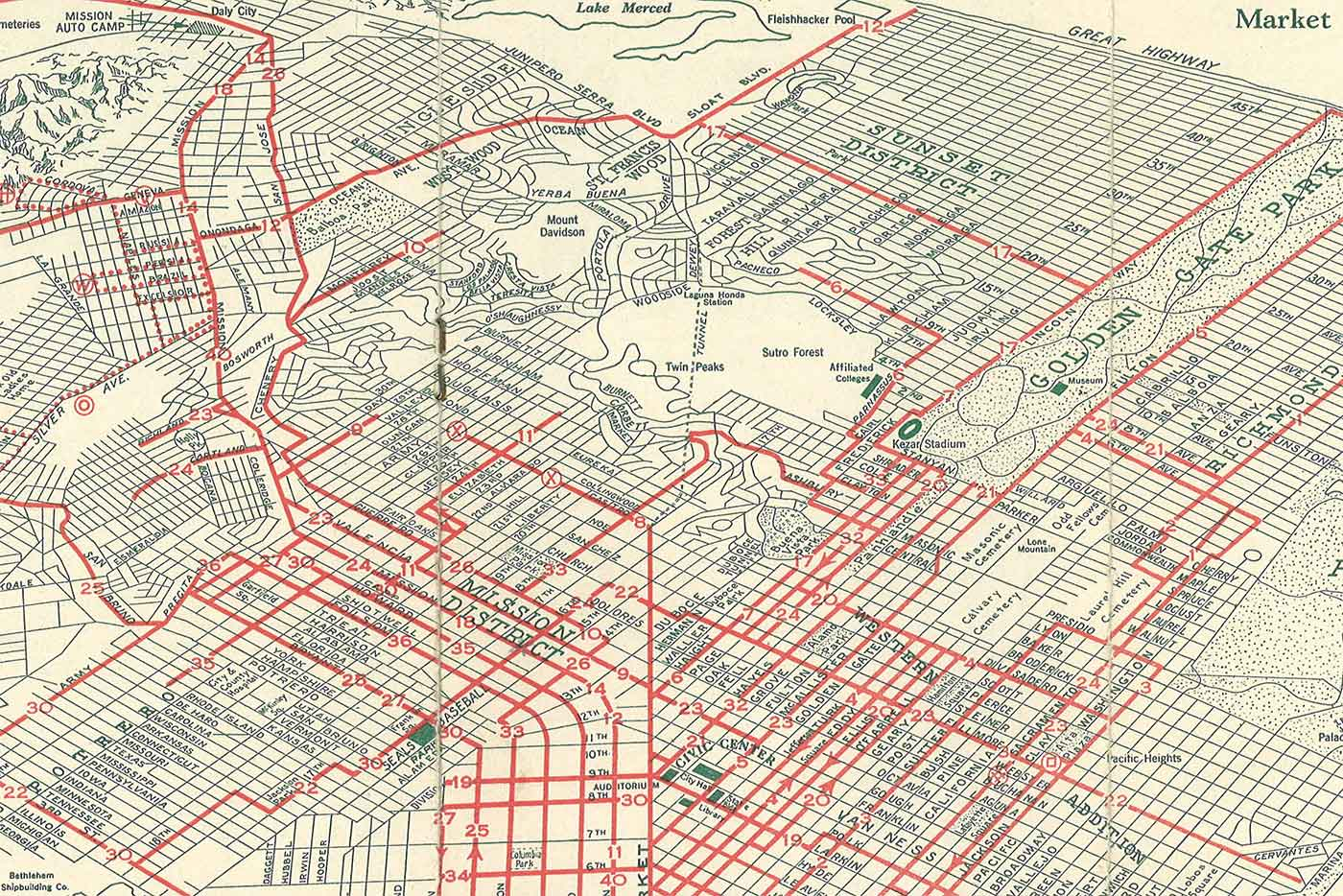 Map of the Market Street Railway Company's City Wide Service (San Francisco, 1931)