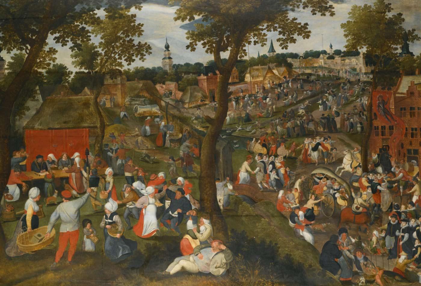 A village celebrating the kermesse of Saint Sebastian.