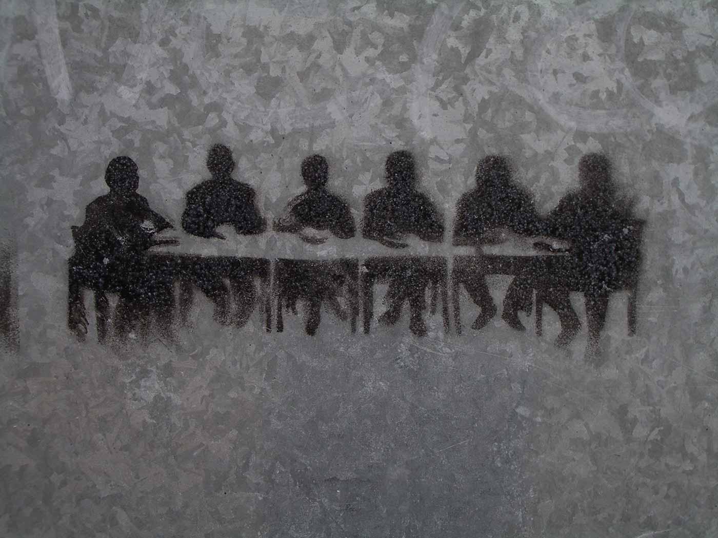Meeting room stencil graffiti.