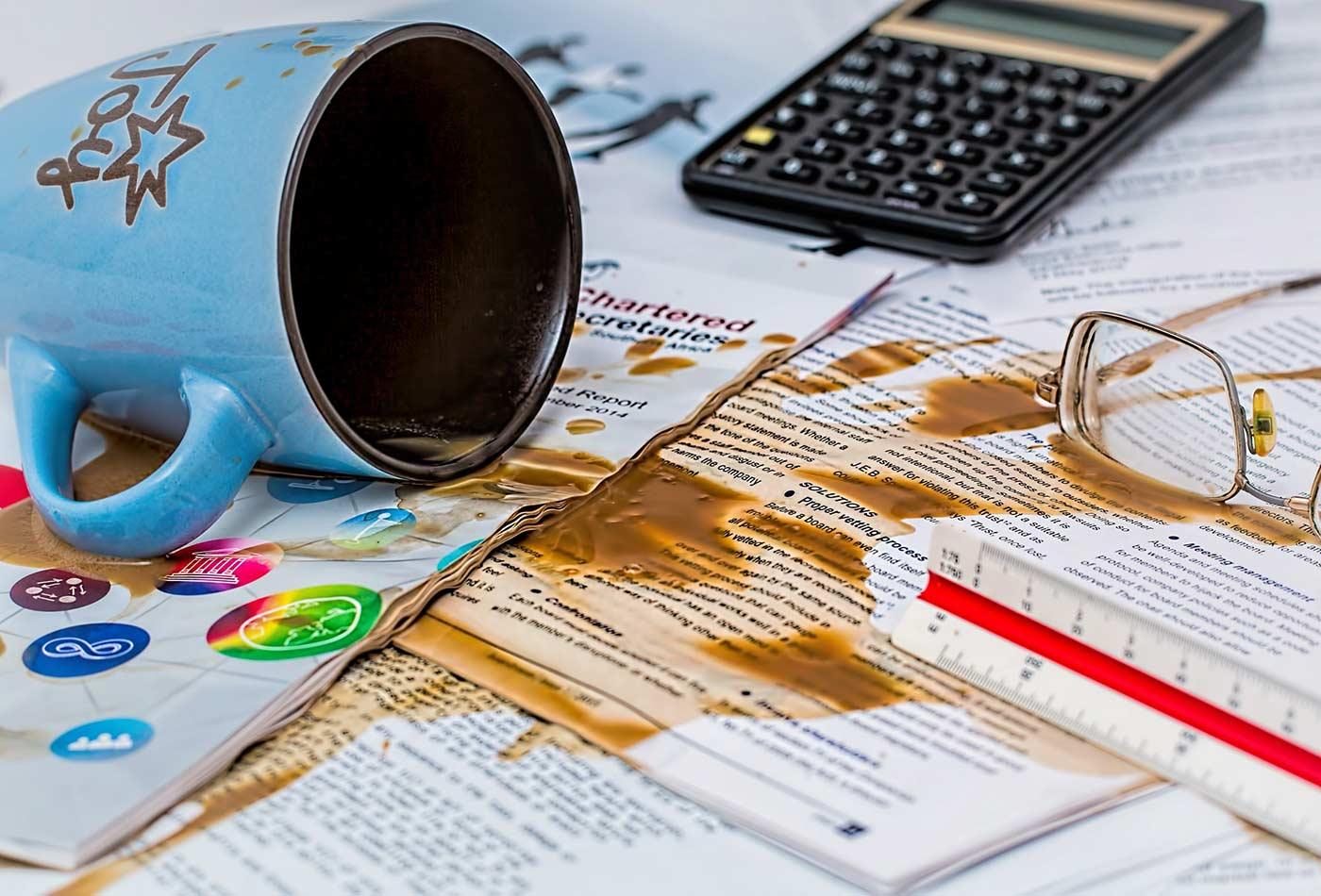 Coffee spill.