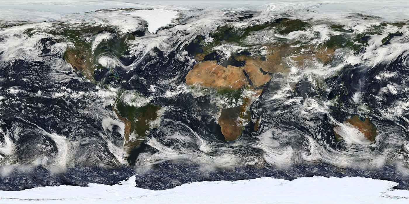 Image based largely on observations from the Moderate Resolution Imaging Spectroradiometer (MODIS) on July 11, 2005.