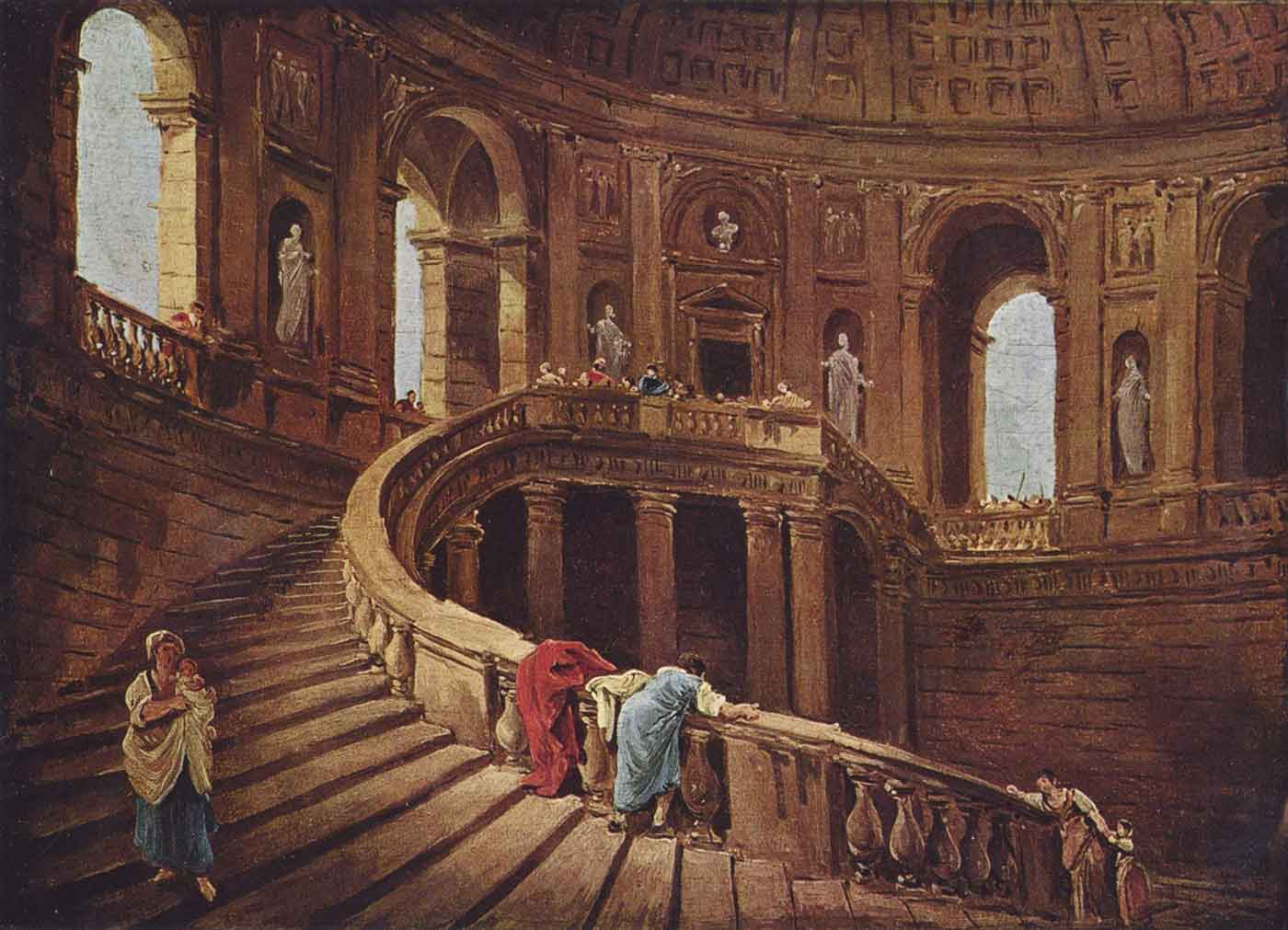 Staircase in the Palace of Caprarola by Hubert Robert