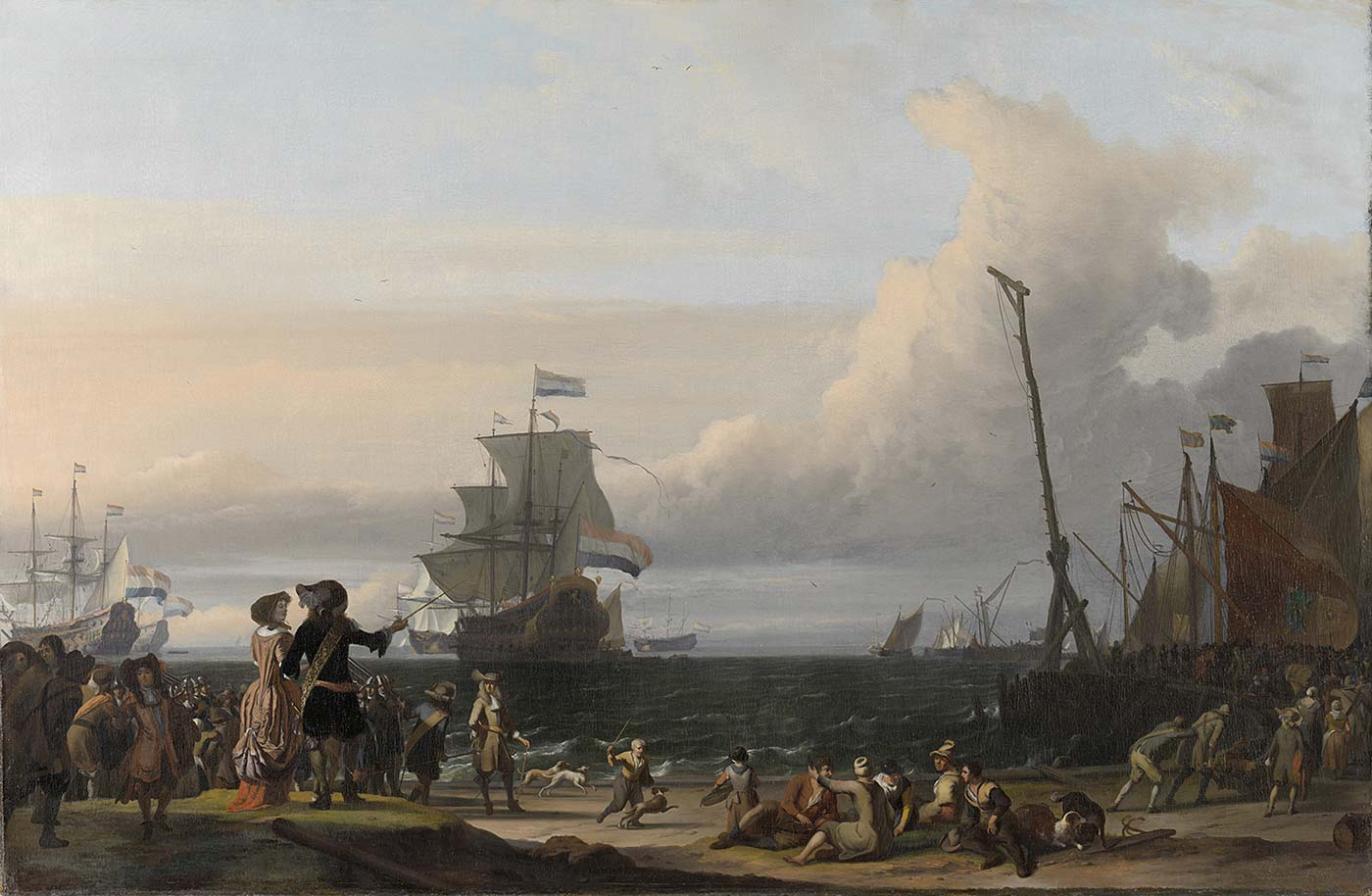 A ship in harbor, flying its flags. Ludolf Bakhuizen.